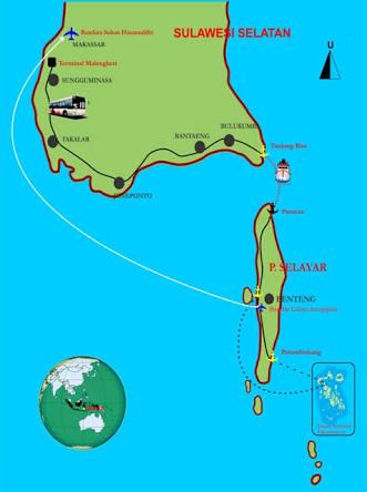 Ilustrasi peta menuju pulau selayar